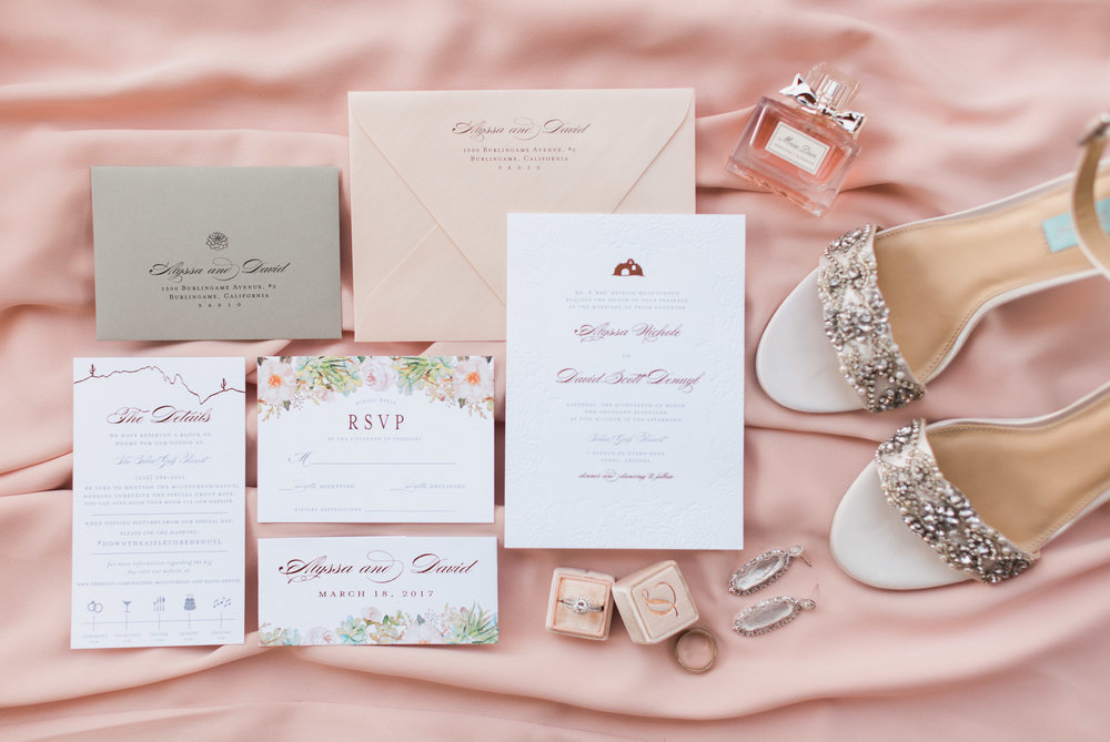 Stunning wedding invitations by Brie Dumais Designs, paired with Alyssa's gorgeous wedding details.