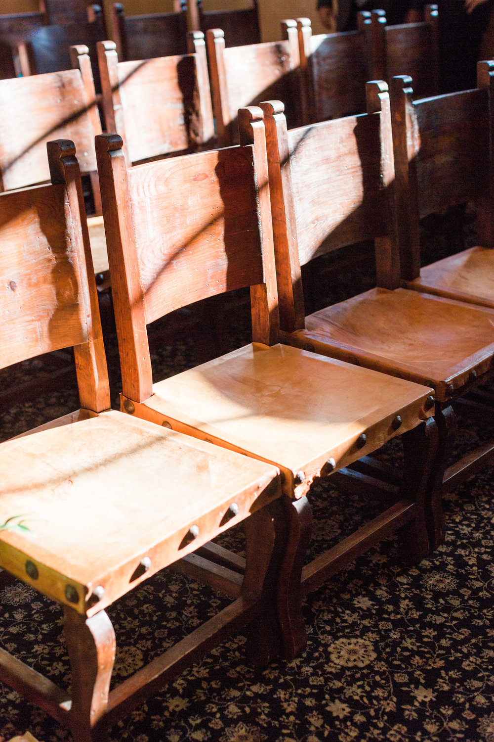 western, leather chairs inside the chapel