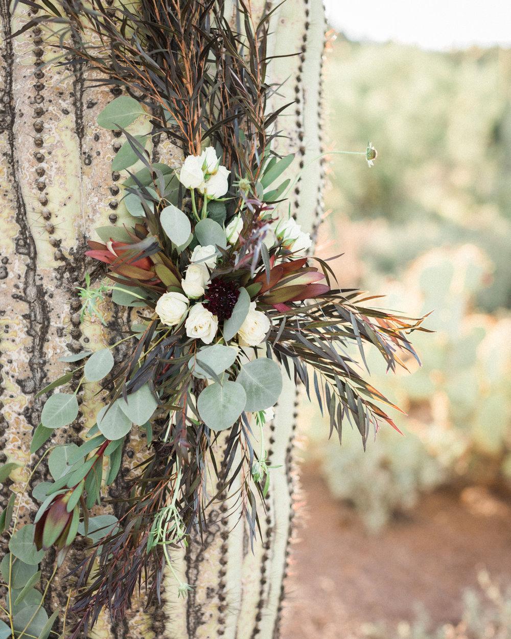 Saguaro cactus floral installation