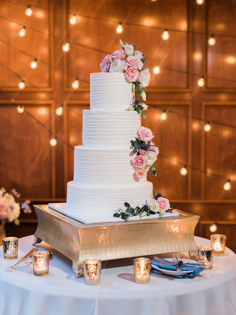 Beautiful wedding cake by Laura Marie's Cakes | Harrison & Jocelyne's gorgeous Temecula wedding day at Wiens Family Cellars captured by Temecula wedding photographers Betsy & John