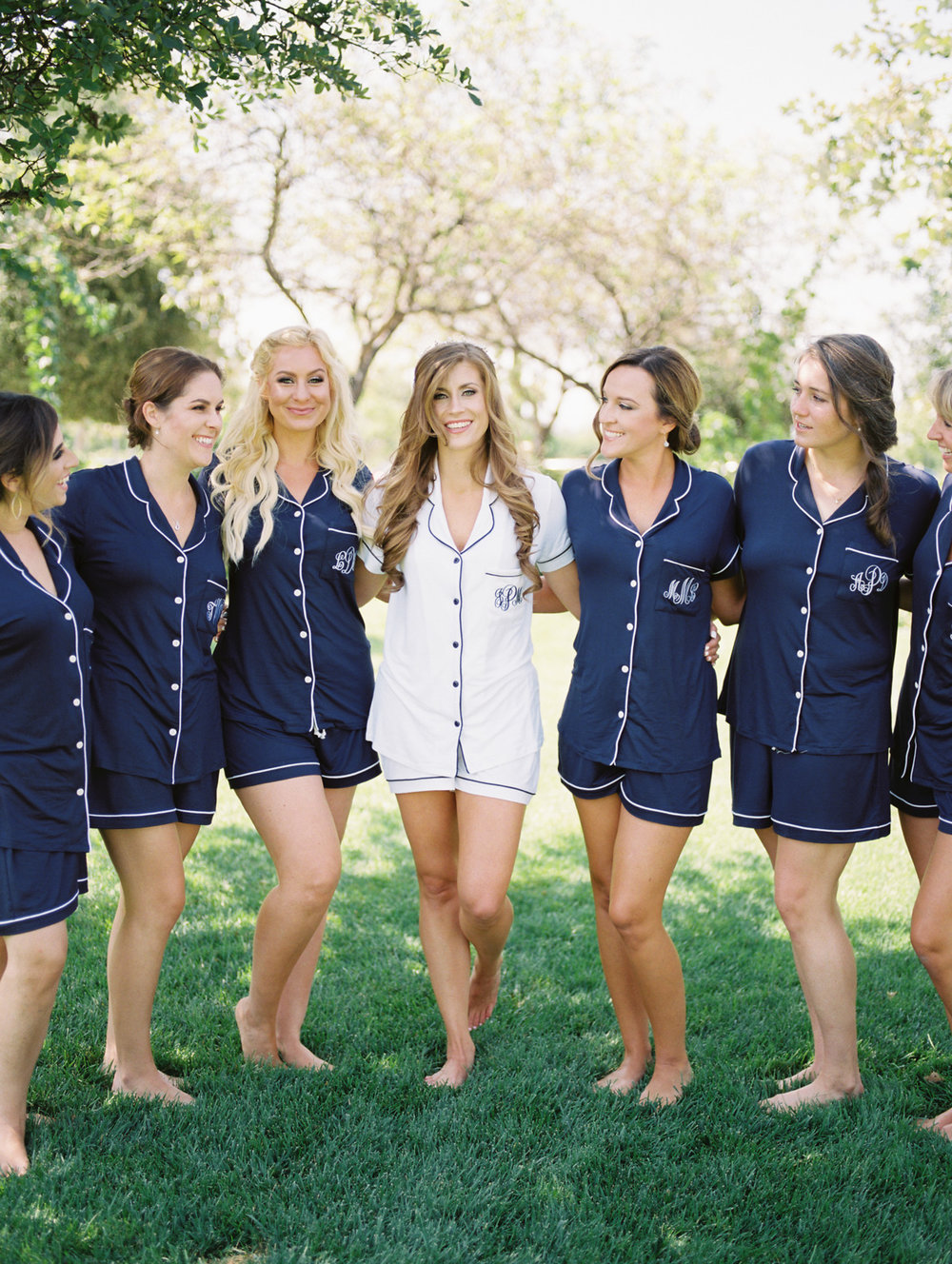 Bride & bridesmaids in matching Pj's! Such a cute bridesmaid gift!