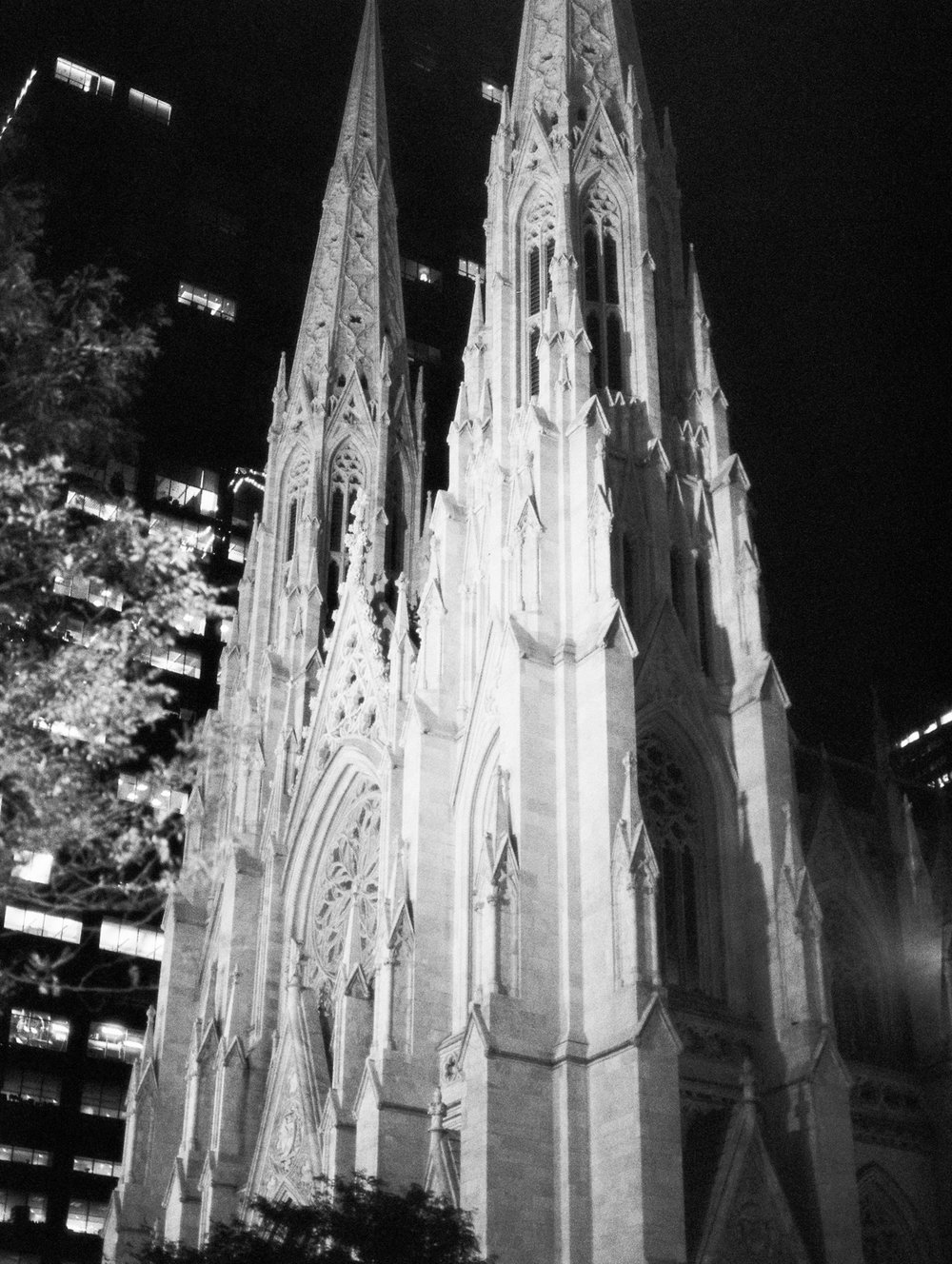 NYC church on black and white film at night. Ilford Delta 3200