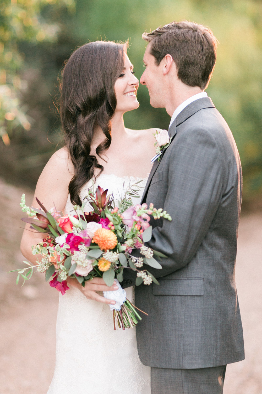 Gorgeous bride and groom about to kiss captured by Phoenix wedding photographers, Betsy & John