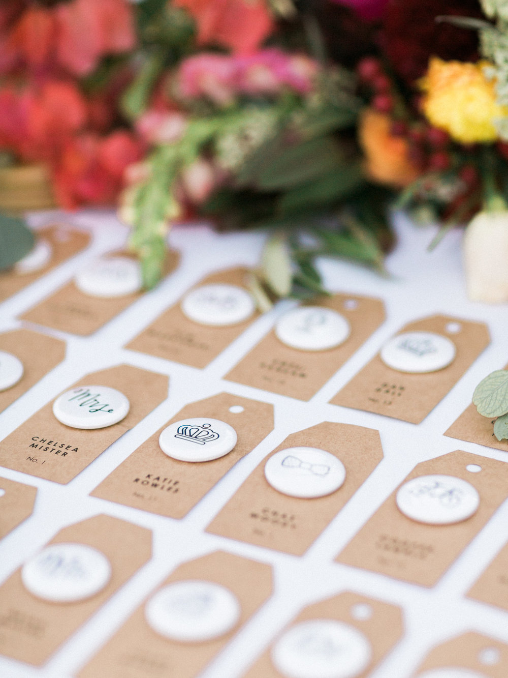 handmade button place card settings with florals