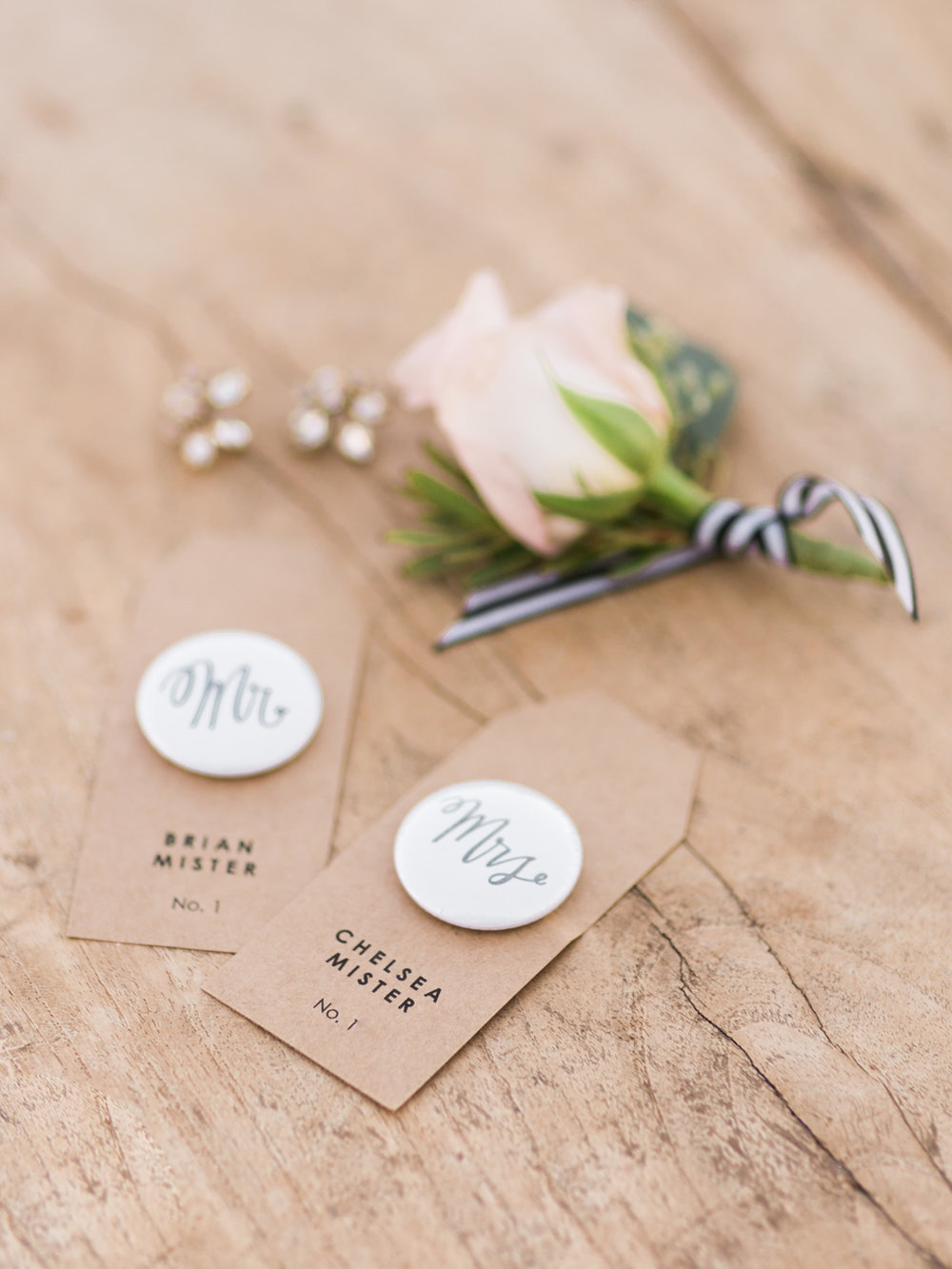 handmade button place card settings with blush boutonniere