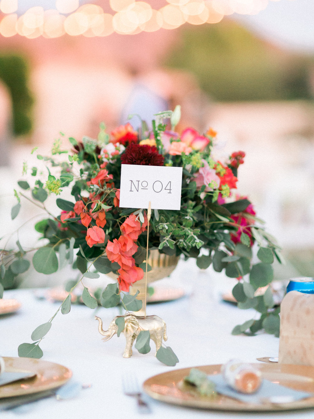 Beautiful wedding centerpieces with bougainvillea