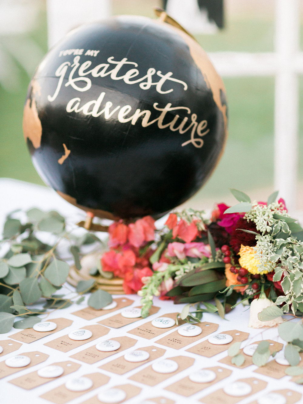 You are my greatest adventure hand lettered globe with button place cards