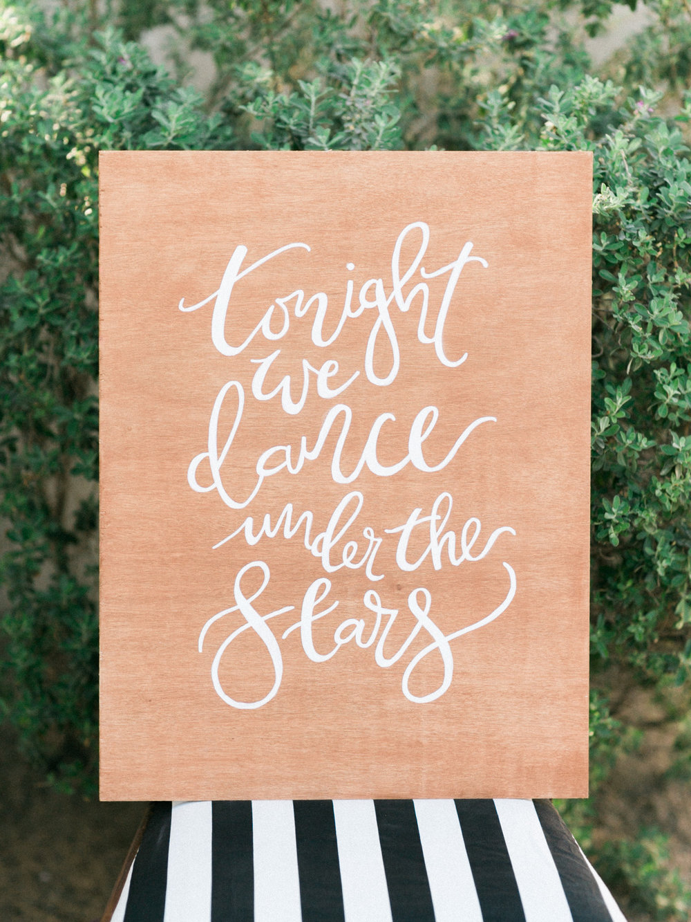 "Gorgeous hand lettered wood wedding chalkboard ""tonight we dance under the stars"""