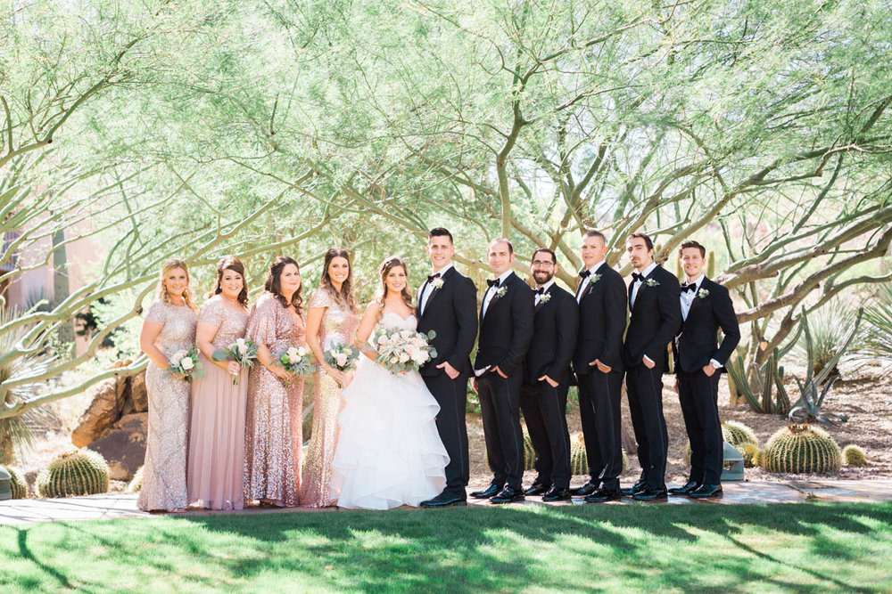 Desert bridal party in blush and black captured by Tucson Wedding Photographer Betsy & John