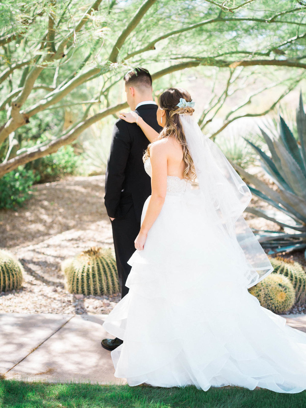 First Look captured by Tucson Wedding Photographers Betsy & John