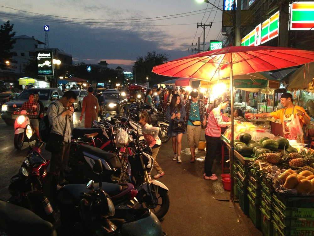 The streets come alive at night. So many night markets to choose from around Chiang Mai.
