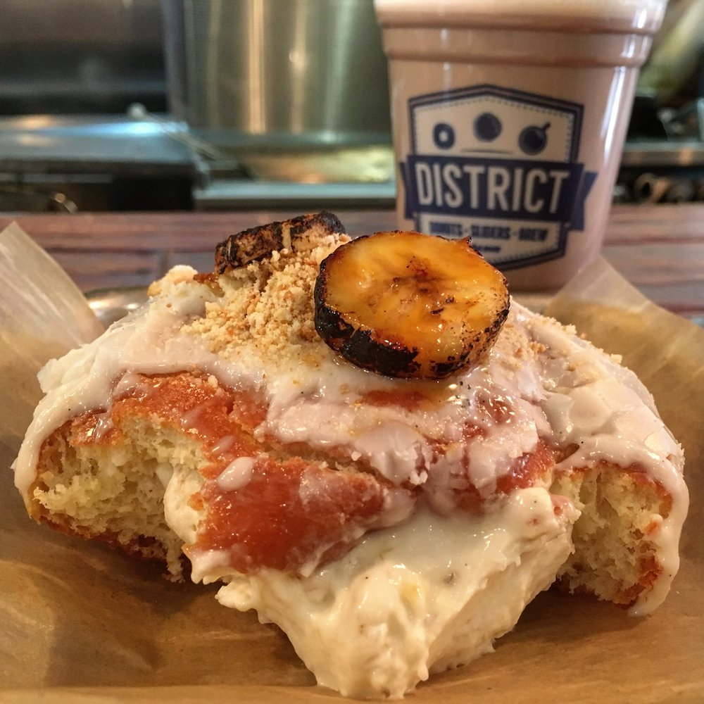 I died and went to heaven: banana cream filled donut at District Donuts Sliders and Brew in New Orleans Garden District.