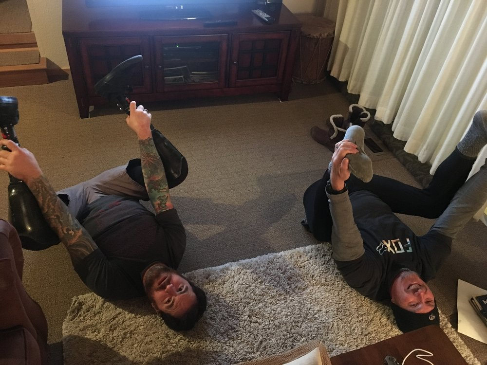 Post snowboarding yoga sesh.