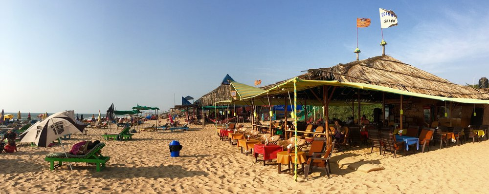 Calangute Beach, where there's no shortage of places to eat on the sand, and no shortage of people watching.