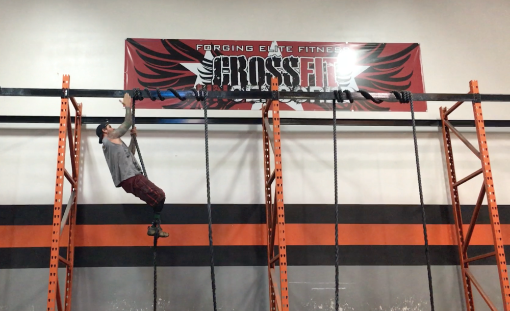 No big. Just a double amputee climbing a 15 foot rope at Crossfit Uncensored.