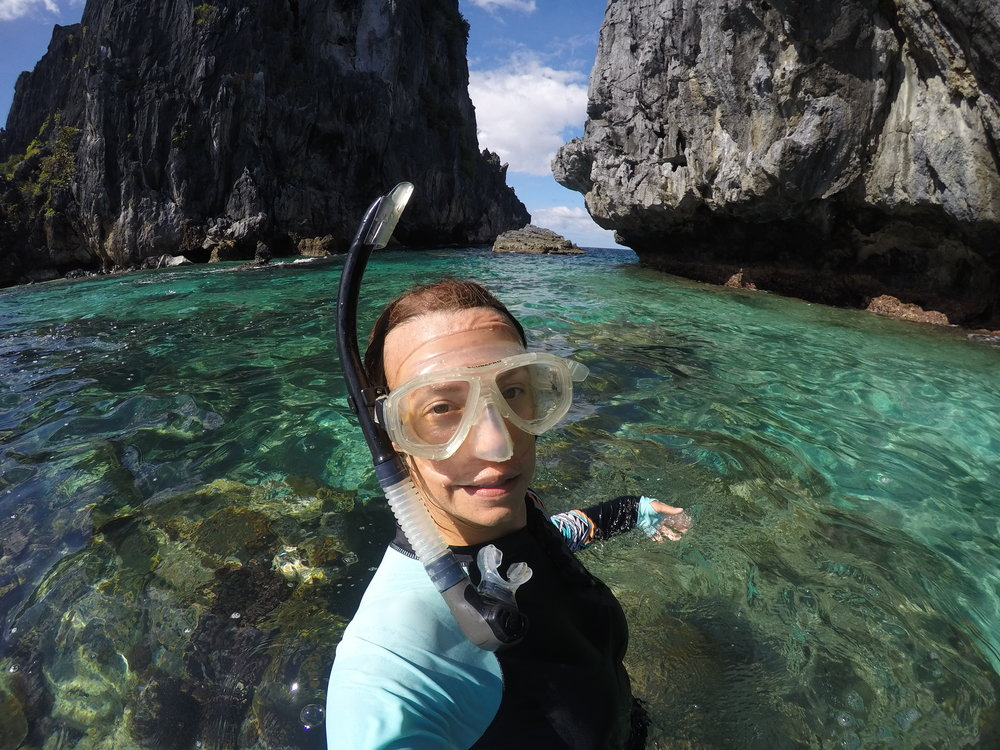 The Twin Rocks, overshadowed by my sexy snorkel.