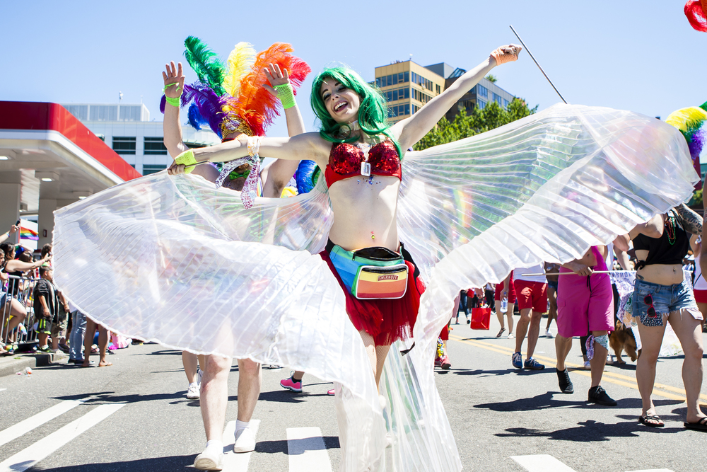 A dancer drops one of her batons mid-twirl during the Seattle Pride Parade in Seattle, Wash. on June 26, 2016. (Lacey Young, seattlepi.com)