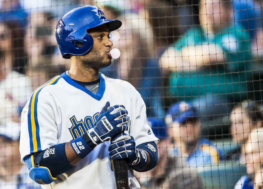 Robinson Cano blows a bubble before taking his at bat during the Mariners' 5-4 victory over the St. Louis Cardinals at Safeco Field in Seattle, Wash. on June 25, 2016. (Lacey Young, seattlepi.com)