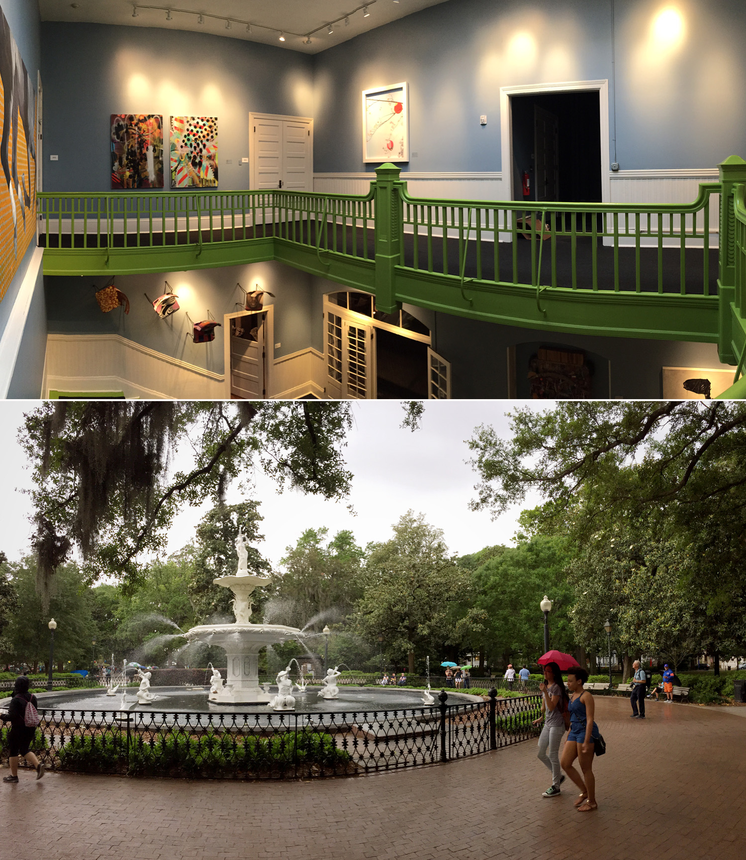 Top: Preston Hall's neon green railings; bottom: Forsyth Park.