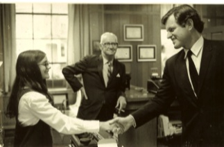 I started interviewing and writing at 14 years-old, working for a suburban Boston newspaper. Here I am meeting the late Senator Ted Kennedy. The newspaper owners/editors were extraordinary mentors, teaching me to how to land an interview, ask good questions, write well and fast, pursue oft-beat story ideas, and keep going despite the inevitable obstacles.