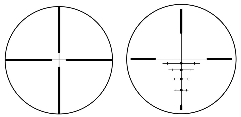 The two reticle options - Left is the Multi-X and right is the DOA version