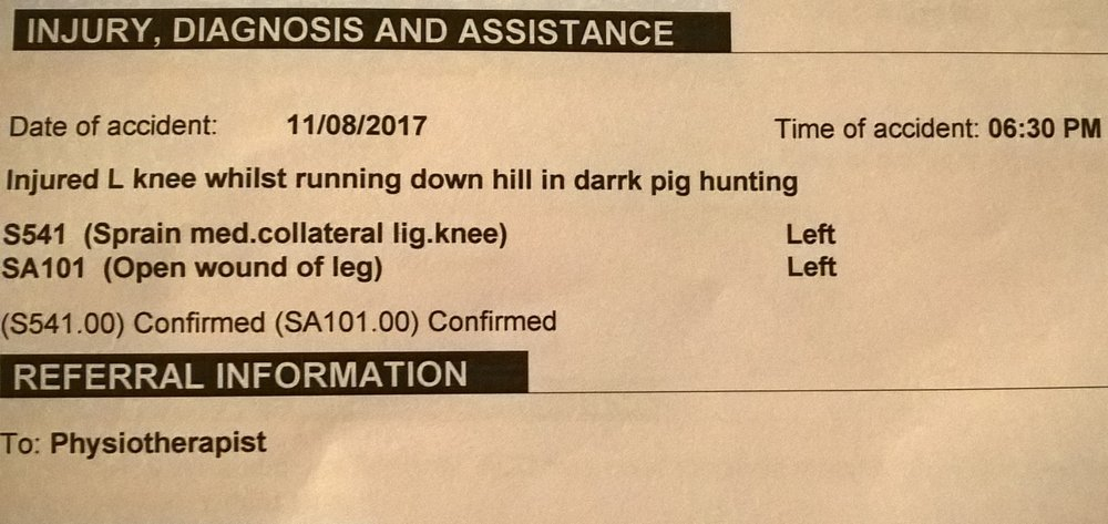 One of Shaun Monks many ACC patches ups, the open wound was from a Manuka stake jabbing up through his calf muscle and into his ham string tendon. The GP referral for Physiotherapy treatment was a bit misguided as 6 weeks later he was in hospital for surgery from this injury.