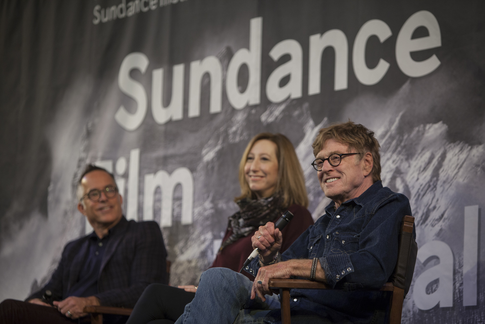Robert Redford, John Cooper and Keri Putnam open up the 2015 Sundance Film Festival in Park City, Utah with a press conference to discuss the themes explored in the festival.