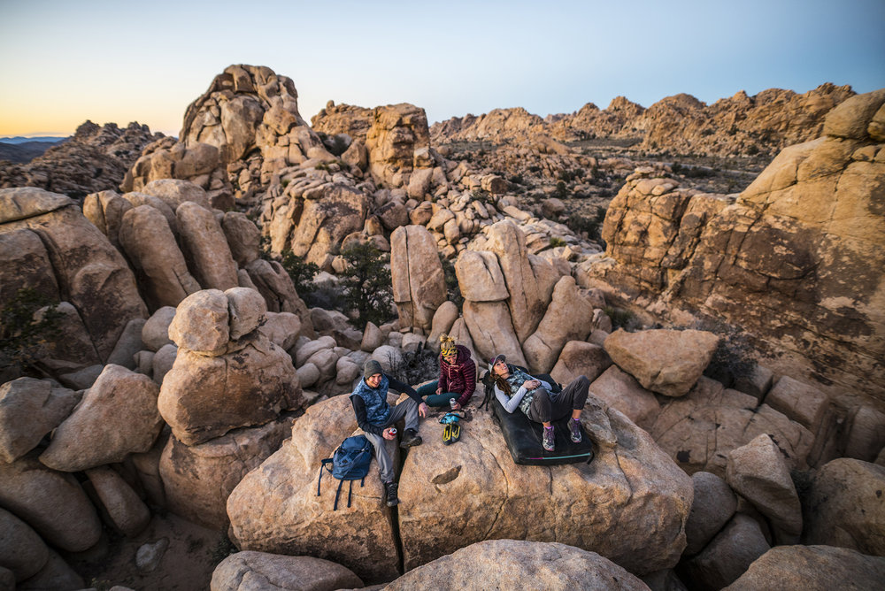 Daniel Woods; Kati Hetrick and Alex Johnson. Joshua Tree, California. Photography by Tim Kemple.