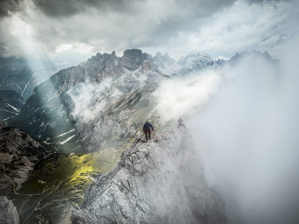 Sam Elias and Hazel Findlay. Dolomites, Tre Cime, Italy. Photography by Tim Kemple.