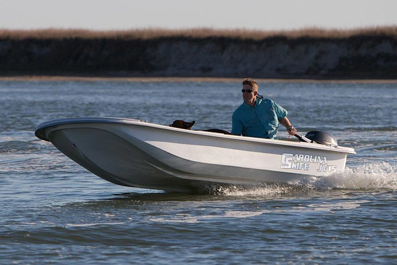 2017 JV Series The JV-Series is a great little fishing/run around boat - pure and simple. The JV-Series are as stable as they are easy to handle, and with their 100% composite wood-free construction, these boats will be around for many years to come. The JV-Series are rigged in either a Center Console or Tiller Handle, depending on your preference. The JV is a quality built boat, using 100% composite material, which means no wood and no rot. The modified shallow Vee is designed to soften the ride and help keep you dry.