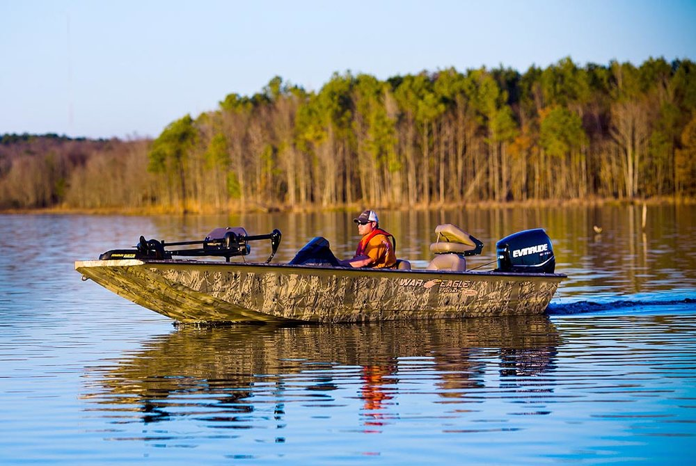 War Eagle Boats has built a reputation of having the toughest boats on the water. All War Eagle models are built using all welded aluminum and the wings transom design that creates superior handling, even in choppy waters.  Since 1992, War Eagle Boats have been a force in the duck hunting industry providing customers with the best camo paint jobs in the business. Each boat is individually painted using a tested process that produces HD camo results that blend perfectly with your environment. Through our partnership with Ducks Unimited, War Eagle has donated over a million dollars to waterfowl conservation. We want the next generation to enjoy the hunt as much as we do.  Our Predator and VS models are quickly becoming popular with crappie guides and pro anglers throughout the south. These models are loaded with all the features you need to pull in a cooler of crappie.  If you are looking for a boat that can fish as hard as it hunts, then check out our Blackhawk series. These models come fully loaded and are built on an 18°V hull that not only provides a smoother ride but will keep you dry. The best feature of the Blackhawk is that the layout can be customized with either a side or center console, each with an impressive list of standard equipment.  Whether you are in the market for a duck boat, a fishing boat or a boat that can be both look no further than War Eagle Boats.