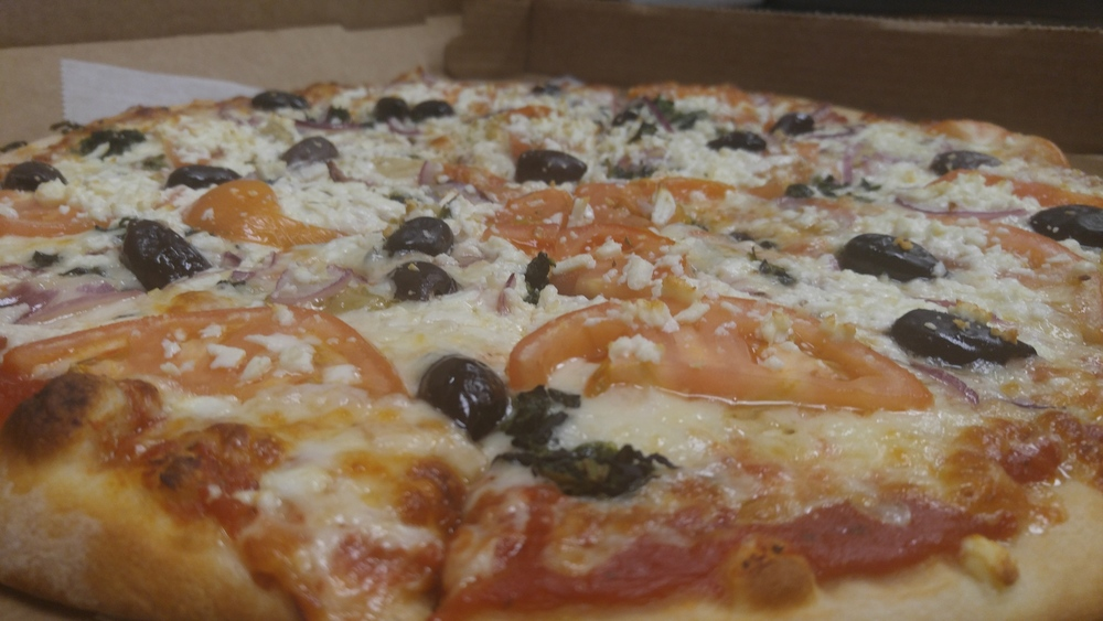 Our delicious  Mediterranean , shown here as a hand tossed. Try it today!