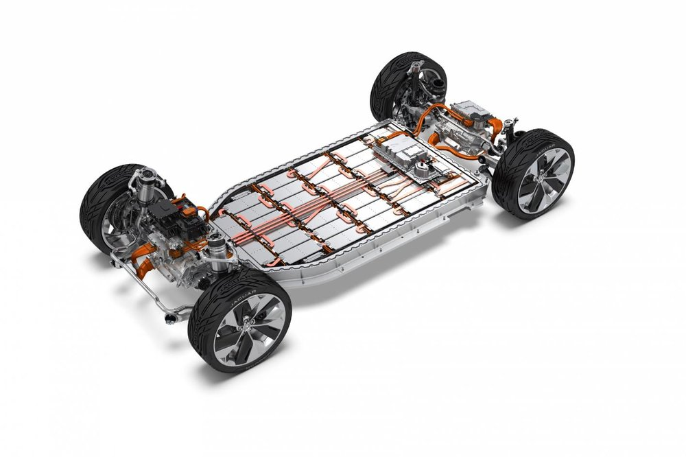Above: The skateboard chassis used by Jaguar's i-Pace. Such a chassis incorporates a flat, long and rectangular battery pack at the bottom of the vehicle to lower the centre of gravity and optimise packaging and interior space.
