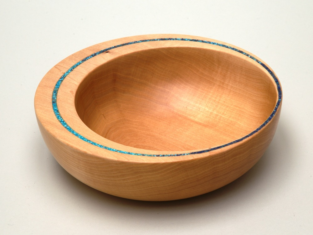 Off Center Bowl with Turquoise Glass Inlay