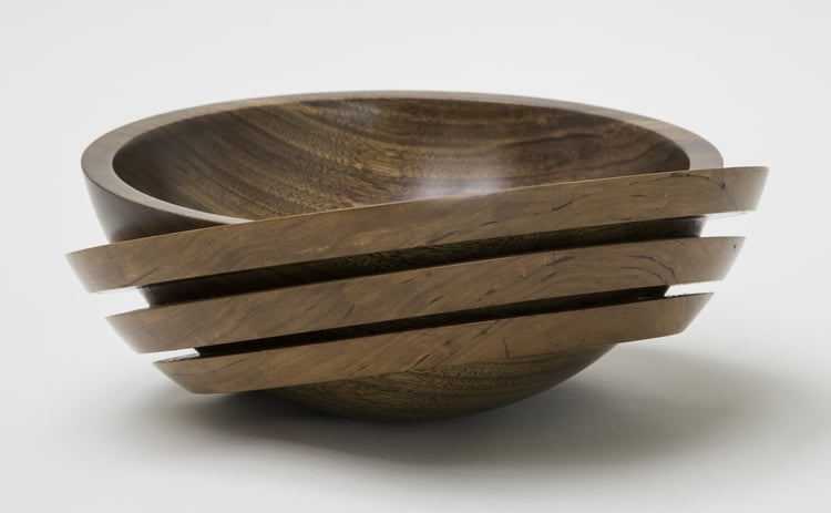 "The American Association of Woodturners hosted the AWFS Fair Turning to the Future 2015 competition and juried exhibit in Las Vegas.     ""Ringed Bowl"" was awared second prize for exceptional woodtruning work by students.     http://woodturner.org/?page=KT201508"