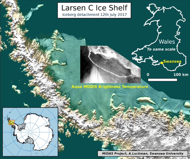 A map shows the detachment of an iceberg from the Larsen C Ice Shelf in Antarctica, based on data from NASA's Aqua Modis satellite, July 12, 2017.    MIDAS PROJECT, SWANSEA UNIVERSITY