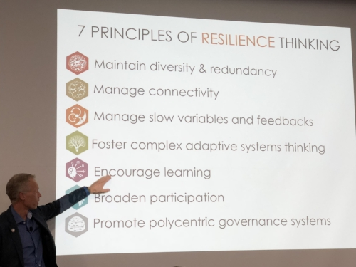 Johan Rockström explains resilience thinking at the BSR/Stockholm Resilience Centre event during GCAS.