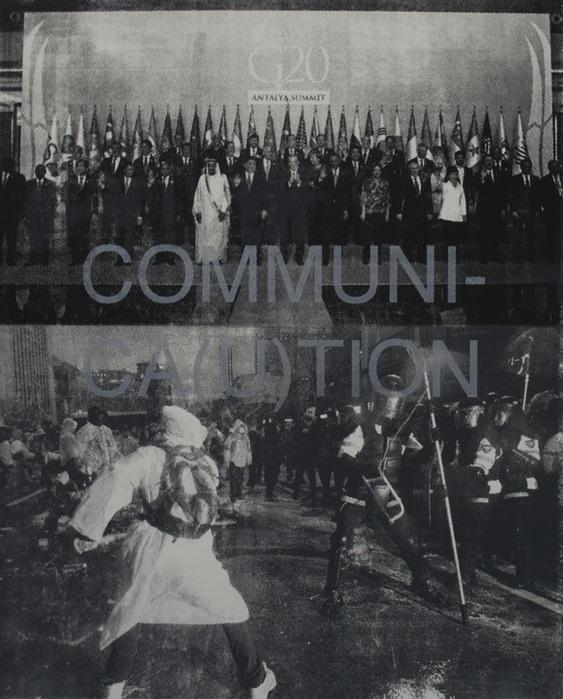 """COMMUNI-CA(U)TION-2  (2015), Screen print on paper, 22"""" x 30""""(55.88 x 76.2 cm)"""