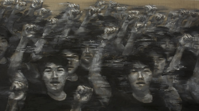 "Activist-Artist  (2015), Acrylic on linen, 44""x78"" (3'66""x6'5"" / 111.76 x 198.12 cm), Private collection"