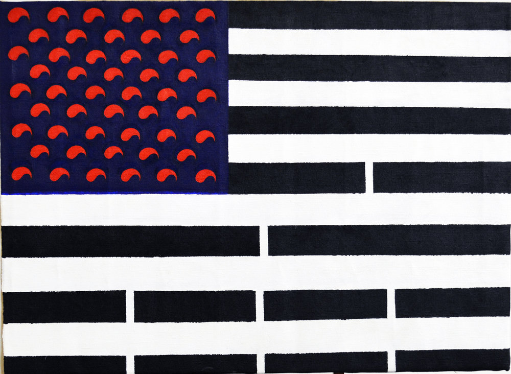 "Koreamerica (2017), Acrylic on linen, 35"" x 48"" (88.9 x 121.92 cm)"