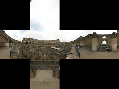 "360-degree spherical panorama of The Colosseum, in Cubic format. (By ""Humus"", CC BY 3.0, http://www.humus.name/index.php?page=Textures&ID=109)"
