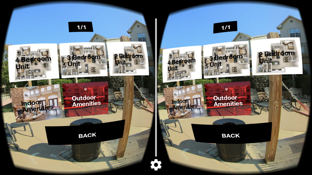 """VR-view"": meant to be seen through a VR headset like the Google Cardboard. Here showing a Dashboard for navigation."