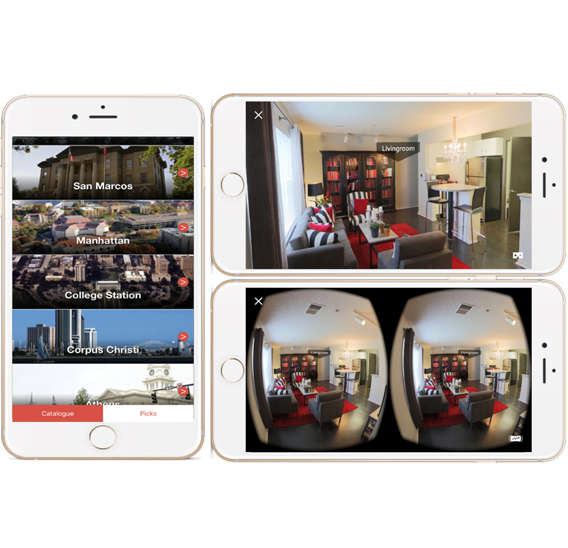 All in the palm of your hand - And in the VR headset!All tours - future and existing - are bundled into one branded VR App for leasing offices, or for download from the app stores. There are no expensive PCs to buy or extensive cables to manage. All you need is a mobile phone.