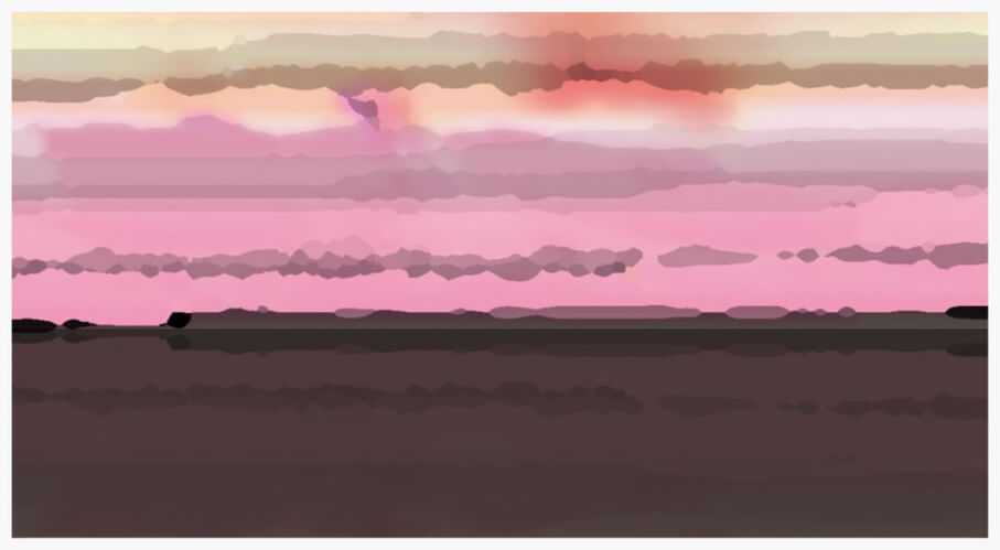 Suffolk Skyline Series, Butley Creek - Mixed Media; Gicleé and Acrylic on Hahnemühle German Etching | Price £795 Framed Framed 112x68cm (landscape) | Print run of 15 uniques | Pink, Orange, Dark Grey, Black, Brown.