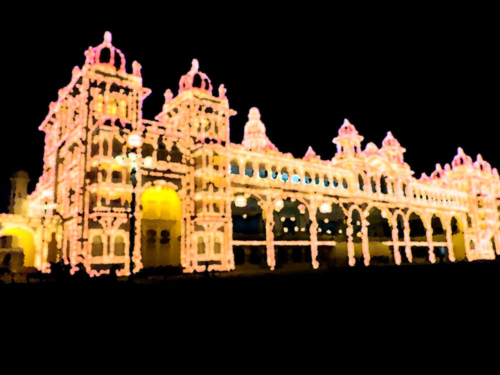 Mysore Palace India  - Gloss Lightjet of Acrylic 80x60cm (landscape) | Price £360 Unframed Print run of 25 | Black, Gold, Yellow, Orange, Cadmium, Bronze,