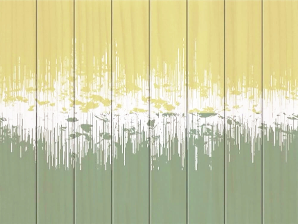 Leaf Walking  - Soundwaves on Wood Unframed 70x50cm (landscape) | Price £130 Unframed. Print run of 25 | Sage, Mustard, White Card Room Green, Lichen, Reed Yellow.