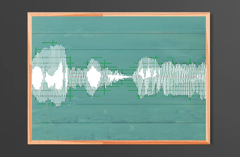 In Conversation  - Soundwaves Direct Print on Wood Unframed 70x50cm (landscape) | Price £130 Unframed.  Air Force Blue, Blue Gum, White, Calke Green, Chasm.