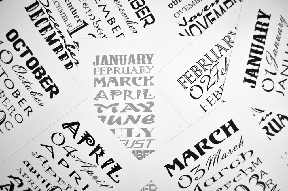 black and white calendar design