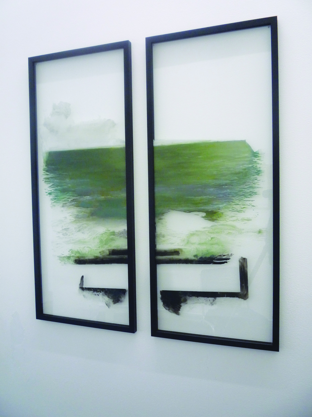 o.T. (Diptychon), 2012, Oil paint on glass, each 100 x 40