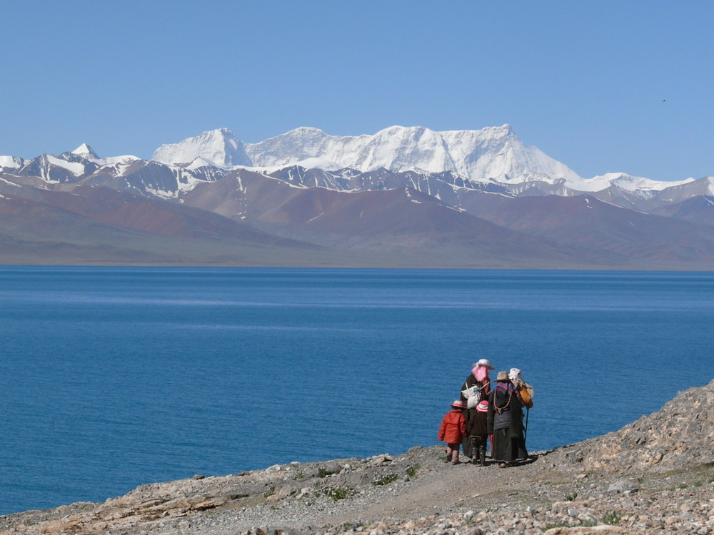 Azure blue waters of the Namtso Lake